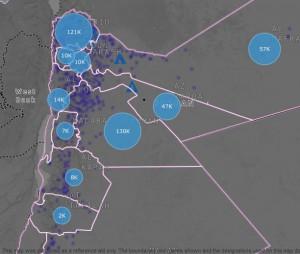 Localisation des réfugiés syriens en Jordanie par mohafazat (gouvernorat) d'après UNHCR